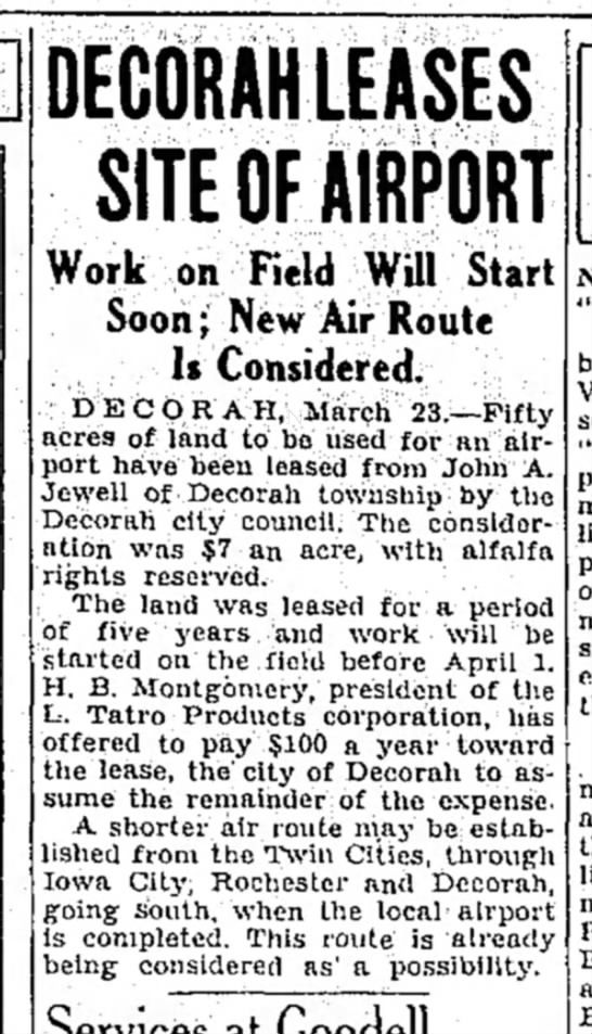 1934 Airport Lease Mason City Globe Gazette 3.23.1934 - DECORAHLEASES SITE OF AIRPORT Work on Field...