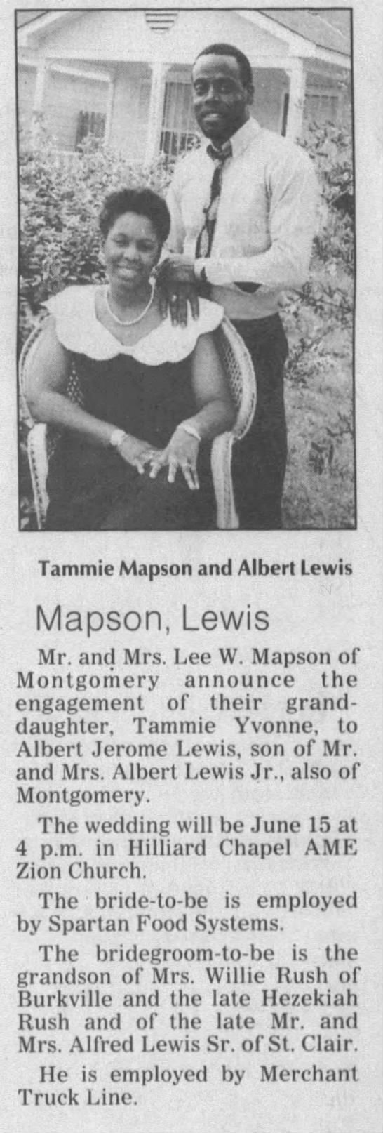 Tammie Mapson and Albert Lewis Wedding Announcement - i - I EL. Tammie Mapson and Albert Lewis...