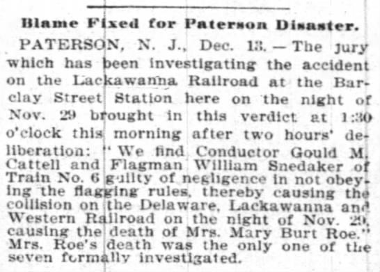 Accident  - Ulame Fixed for Pateraon Disaster.' PATERSON,...