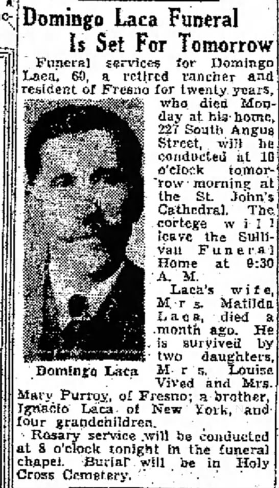 Obit of Louisa Laca Vived's father. - func- . Domingo Laca Funeral Is Set For...