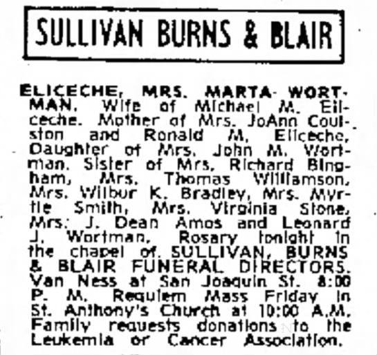 Martha Wortman Eliceche death notice v.2 - SULLIVAN BURNS BLAIR ELICECHE, MRS. MARTA...