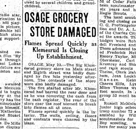 Great Uncle Sigvart's grocery store fire. - • radio star, to bill playing- picture, double...