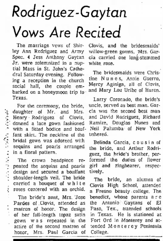 Jesus Antonio Gaytan-marriage to Shirley Rodriguez; Dec 1965. - Rodriguez- Gay tan Vows Are Recited The...