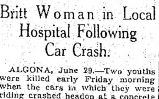 - Bntt Woman in Local Hospital Following Car...