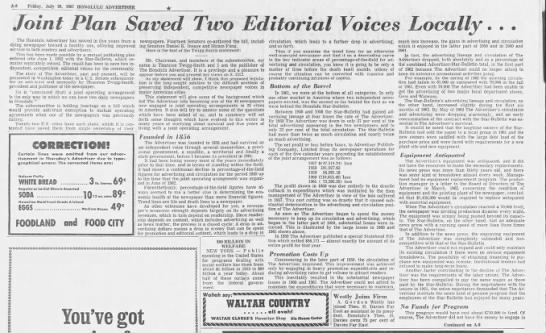 """Joint Plan Saved Two Editorial Voices Locally..."" - A-8 A-8 A-8 Friday, July 23, 1967 HONOLULU..."
