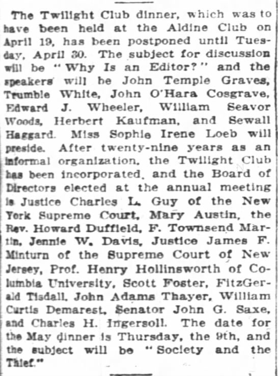 The New York Times (New York, New York) 28 April 1912  Page 75 - The Twilight Club dinner, which was to hive...