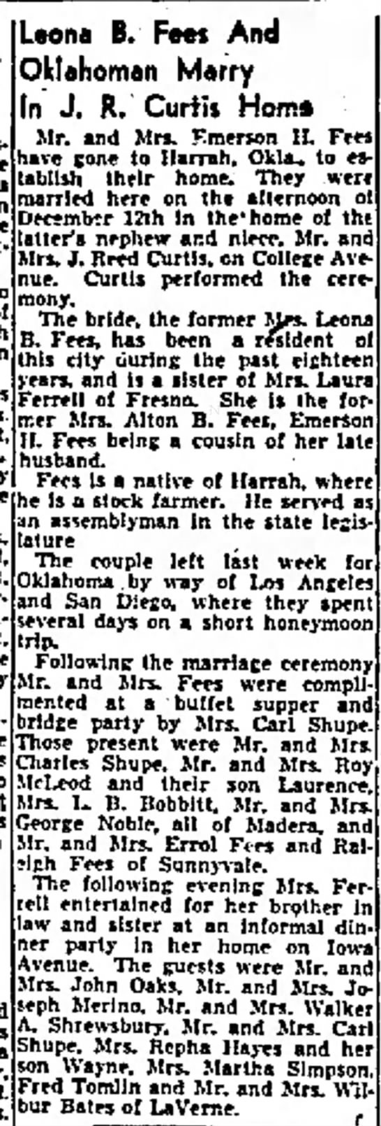 Lonni Ferrell Fees, widow, marries Emerson Fees - who of who! had Mrs. Leona B. Fees And...