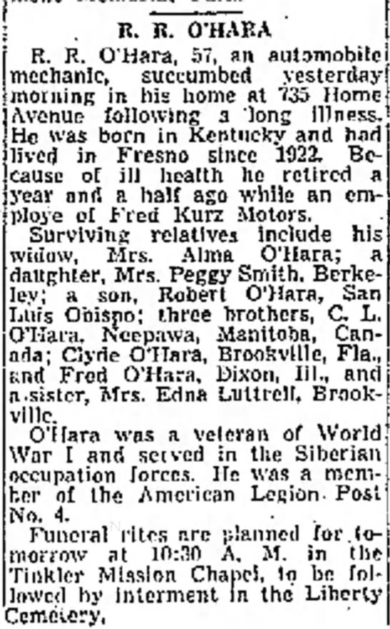 RR O'Hara obituary
