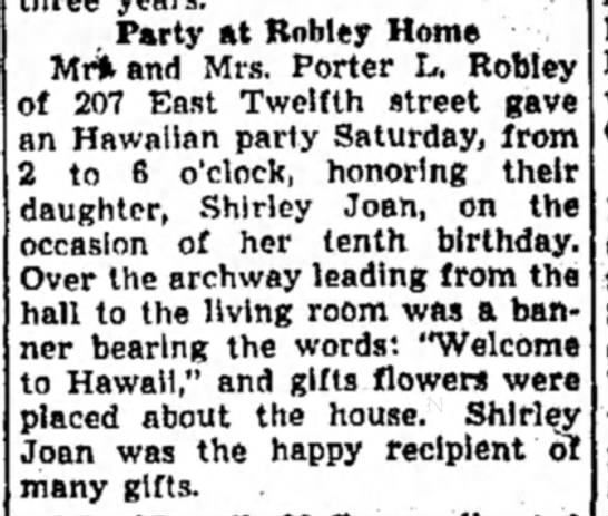Porter Robley dtr.'s BDay Party-Alton Even. Telegraph-page 6, 18 Sep 1944 - Party at Robley Home Mt* and Mrs. Porter L....