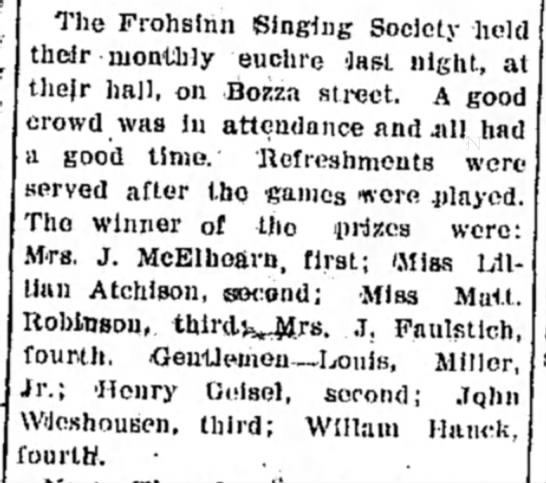 - The Frohsinn Singing Society held their monthly...
