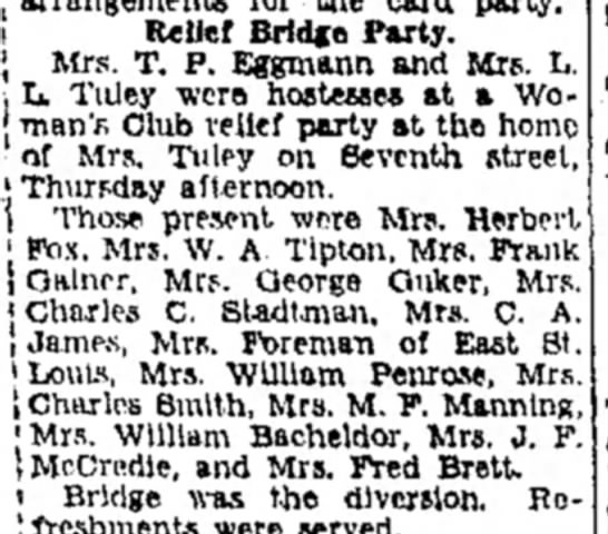 Mrs M F Manning - i Relief Bridge Party. J Mrs. T. P. Eggmann and...