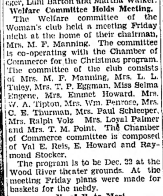 Mrs M F Manning - Welfare Committee Holds Meeting. The Welfare...