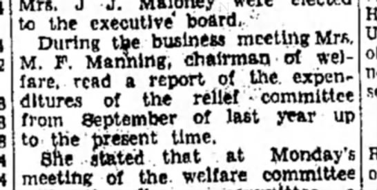 """Mrs M F Manning - to the executive* board. """" During the business..."""
