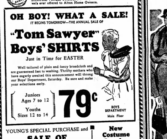 tom sawyer boys shirts. 9 March 1934 Alton Evening Telegraph - we'» ever offered to Alton Home Owners,...