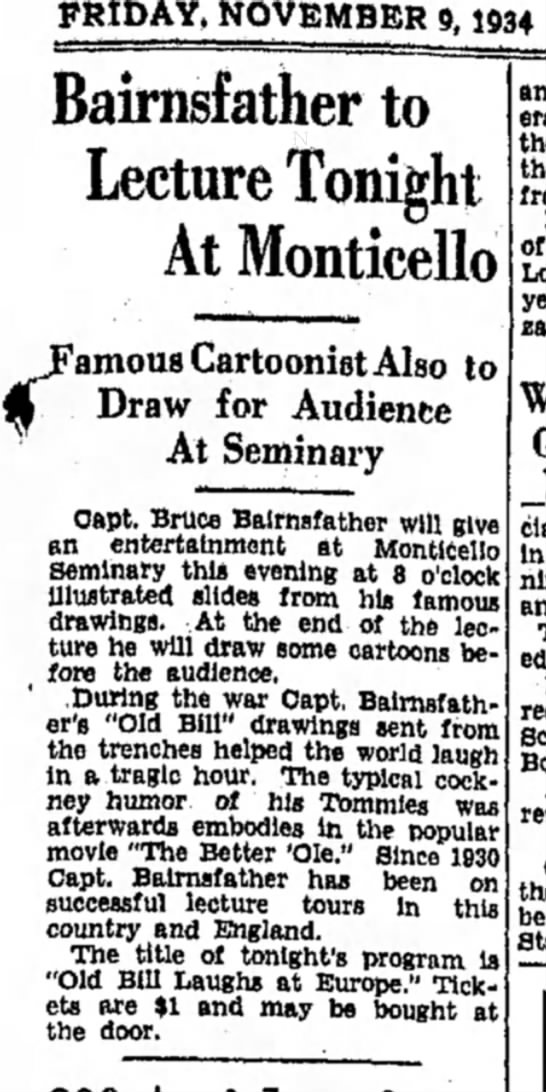 - FRIDAY, NOVEMBER 9,1934 Bairnsfather to Lecture...