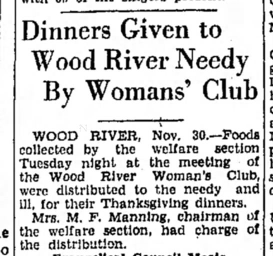 Mrs M F Manning - Dinners Given to Wood River Needy By Womans'...