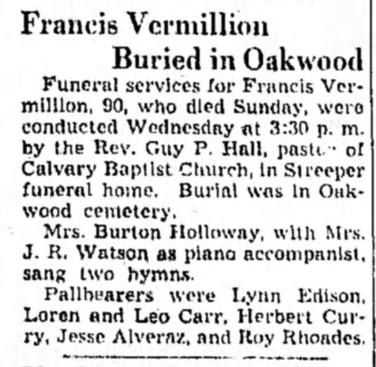 Francis Vermillion buried