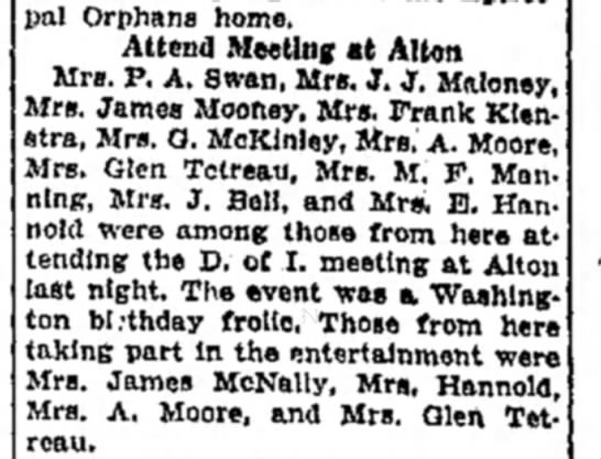 Mrs M F Manning - Episcopal Orphans home. Attend Meeting at Alton...