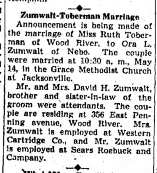 Zumwalt_Ora_Marriage_Announcement_1949 - Zumwatt-Toberman Marriage Announcement is being...