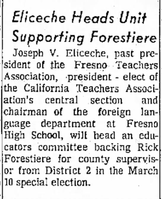 Forestiere for County Supervisor - d e n t United and 700 and in Eliceche Heads...