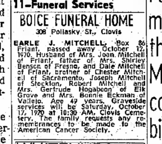 Earle J. Mitchell obit1970 - far kind much arid 11-Funeral Services BOICE...