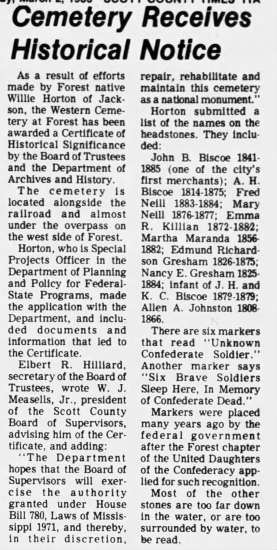 Headstones for Biscoe and Gresham - Cemetery Receives Historical Notice As a result...