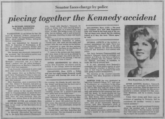 Paper reports Ted Kennedy in car accident; Mary Jo Kopechne dies - i 1 P Senator faces charge by police ieeing...
