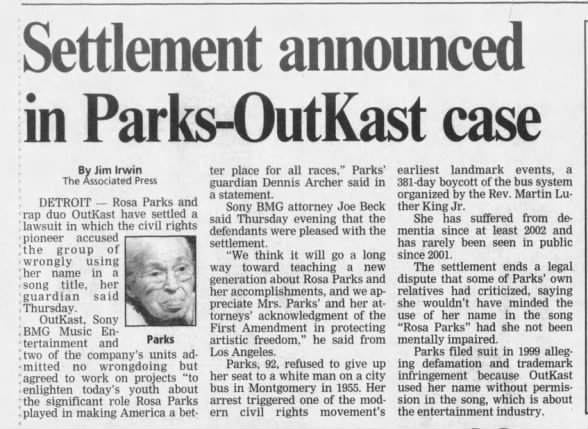 Article about the Rosa Parks/OutKast lawsuit settlement in 2005
