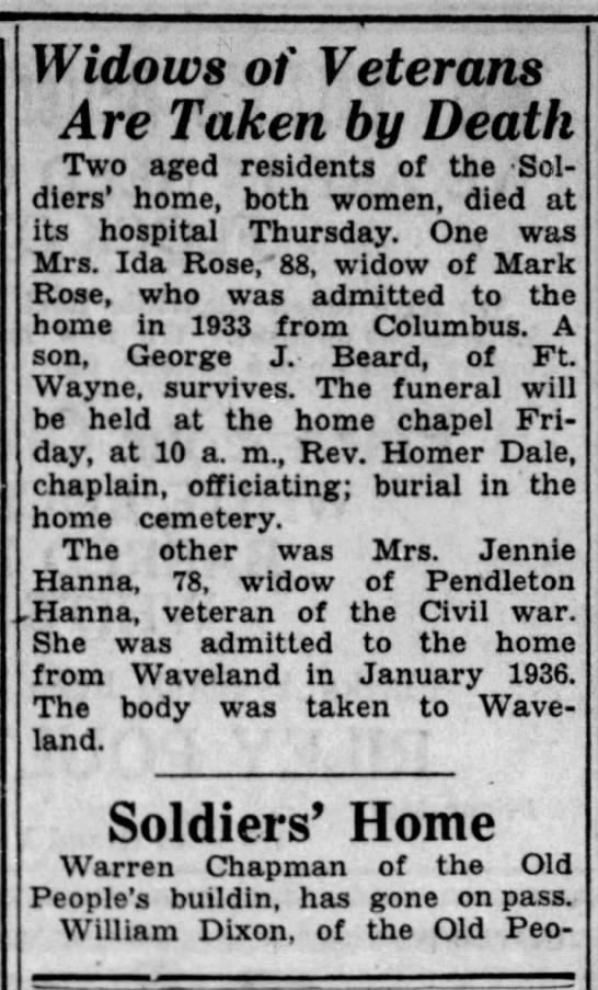 Mrs Jennie Hanna obit 1937 - Widows of Veterans Are Taken by Death Two aged...