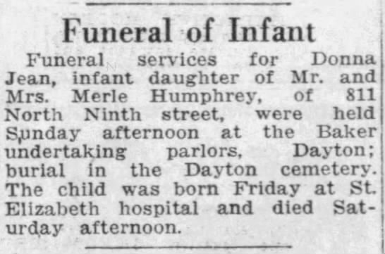 Donna Jean Humphrey Obit - Funeral of Infant Funeral services for Donna...