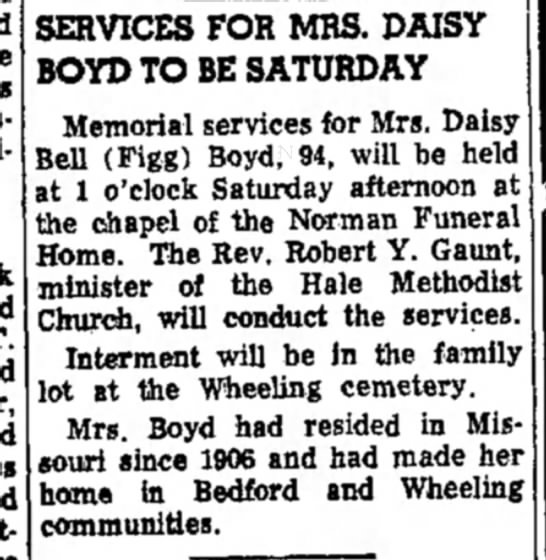- SERVICES FOR MRS. DAISY BOYD TO BE SATURDAY...