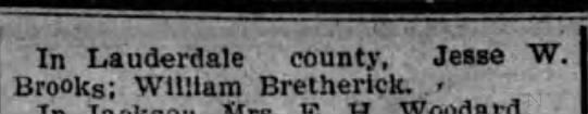 - In Lauderdale county, . Jesse W. Brooks;...