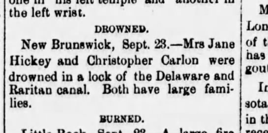 Death of Christopher Carlon - the left wrist. DROWNED. New Brunswick, Sept....