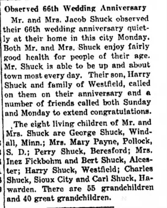 Jacob Shuck 60th Anniversary - Observed 66th Wedding Anniversary Mr. and Mrs....