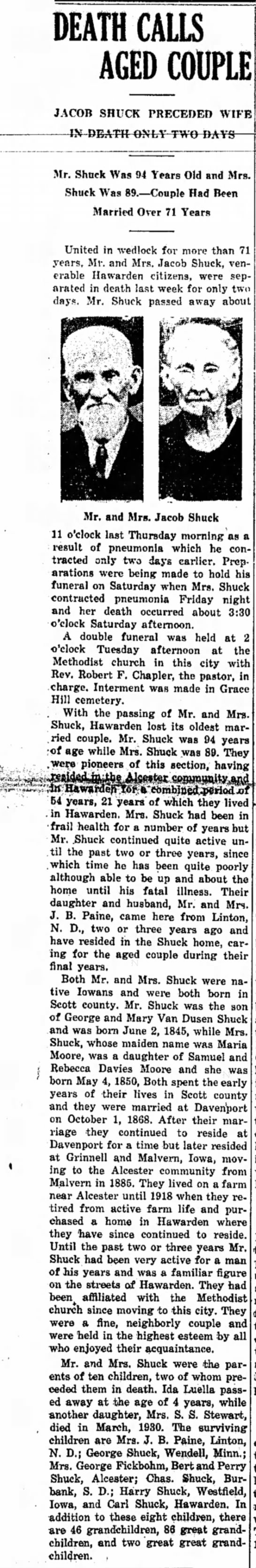 Jacob and Maria Shuck Death Notice - DEATH CALLS AGEDCOUPLE JACOB SHUCK PRECEDED...