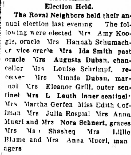 Duban & extended family 1921 - o Election Held. The Roral Neighbors held their...