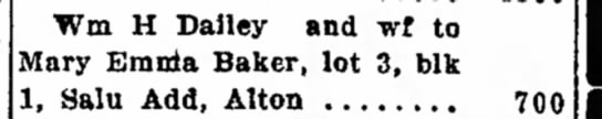 Mary Emma Baker real estate transaction 3 Apr 1915 - part Wm H Dailey and wf to Mary Emma Baker, lot...