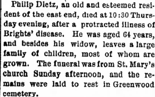 Phillip Dietz, obit article in Edwardsville Intelligencer 25 Jan 1895