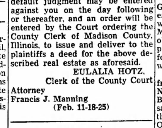 F J Manning - persons estate pending Madison estate issuance...
