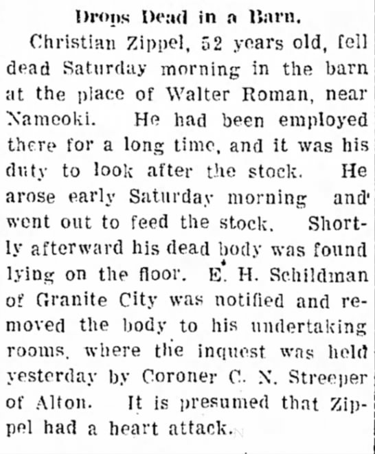 Christian Zippel, obit article in Edwardsville Intelligencer, 28 Sept 1908 - n Station and Edwardsville d l a w n cemetery....