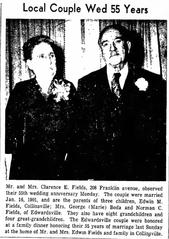 fields_edwin_anniversary_1956 - and Miss Local Couple Wed 55 Years at Mr. and...