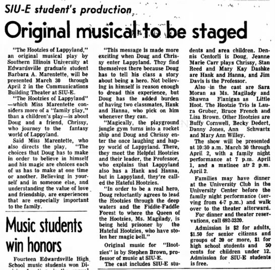 1977 March 11 Hootzies Show To be Staged - the February SIU defer until consider increase...