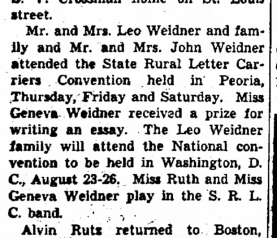 Leo Weidner - street. Mr. and Mrs. Leo Weidner and family and...