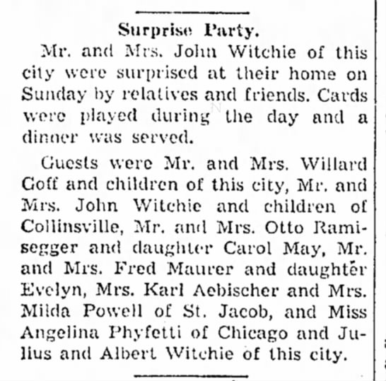 The Edwardsvill Intelligencer Illinois Jan 6 1937 Albert Witchie?