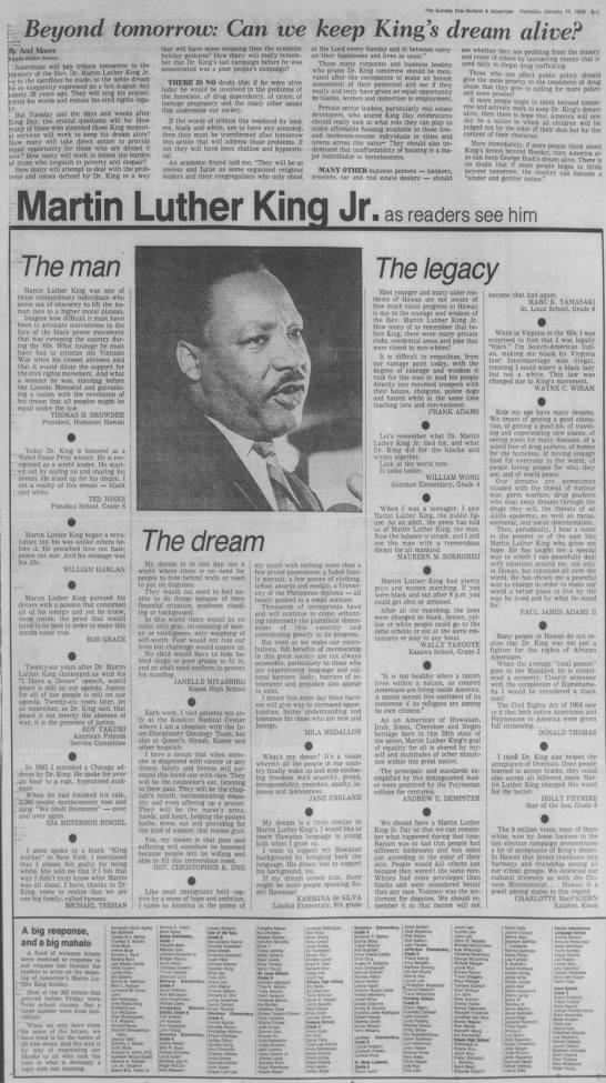 Beyond tomorrow: Can we keep King's dream alive? (1989) - The Sunday Star-Bulletin Star-Bulletin...