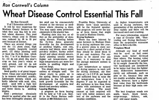 Sept. 17, 1974--Ron's Newspaper Column - Ron Cornwell's Column Disease Control Essential...
