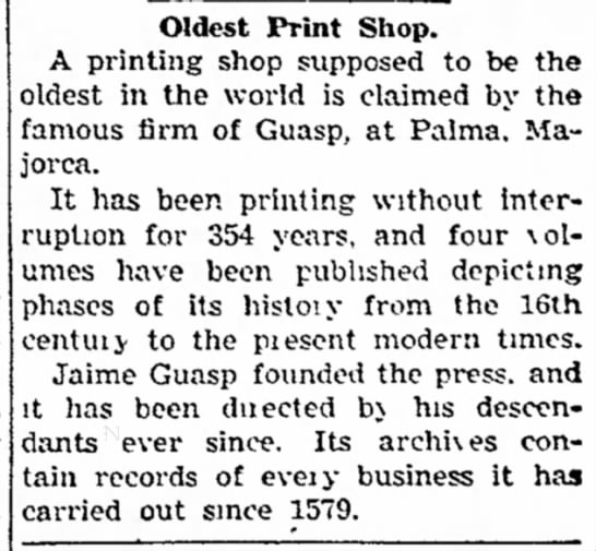 Guasp Printing Press (of Palma) oldest print shop in operation as of 14 Nov 1937 - as a qualified, loyal of on the has useful...