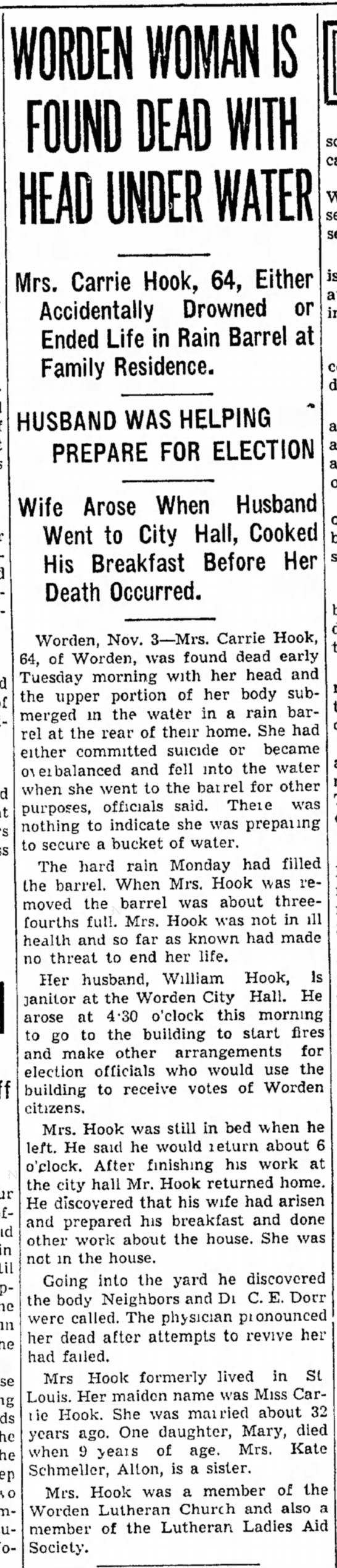 Carrie Janssen Johnson Hook, revised clip, 3 Nov 1936, Edwardsville Intelligencer - was third dead of hard- sector to Mrs. Carrie...