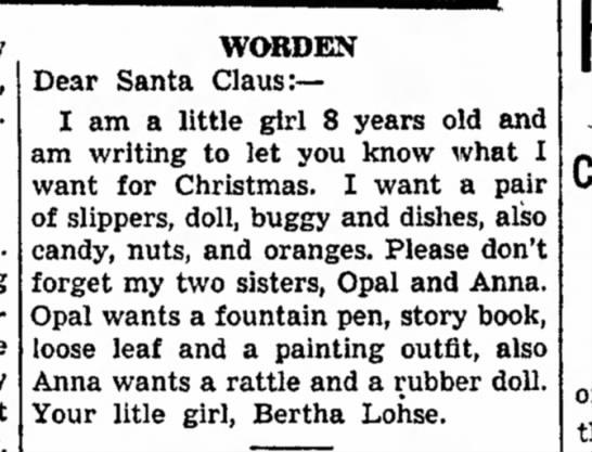 Lohse - Bertha - ltr to Santa - 21 Dec 1936 - old. long anything. me any WORDEN Dear Santa...