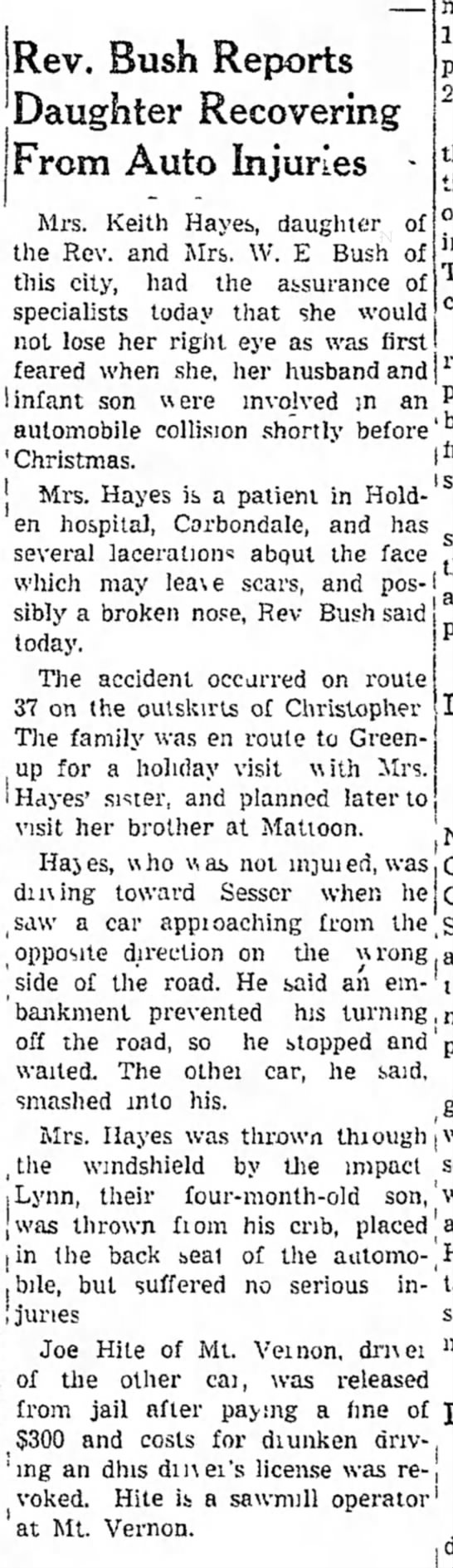 Ernestine and baby Bill in MVA. 1946 - Rev. Bush Reports Daughter Recovering From Auto...